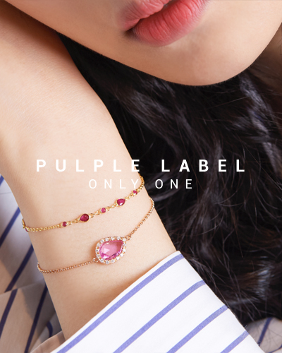 [Purple LABEL #15] Flat Pink Sapphire Diamond 18K Bracelet