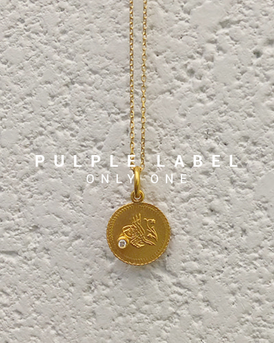 [Purple LABEL #18] 22K Gold Diamond Mini Coin Pendant