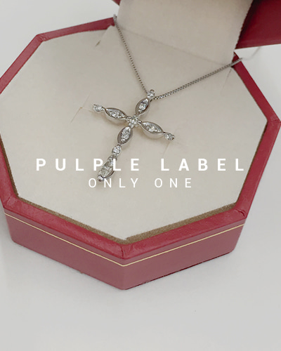 [Purple LABEL #18] 18K Unique Diamond Cross Necklace