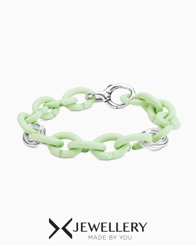 [X Jewellery] Mint Green Triple Tangle Pop Silver Bracelet