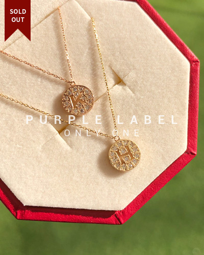 [Purple LABEL #19] 10K Diamond Alphabet Necklace