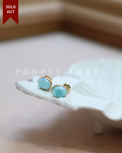 [Purple LABEL #20] 18K Oval Larimar Earrings