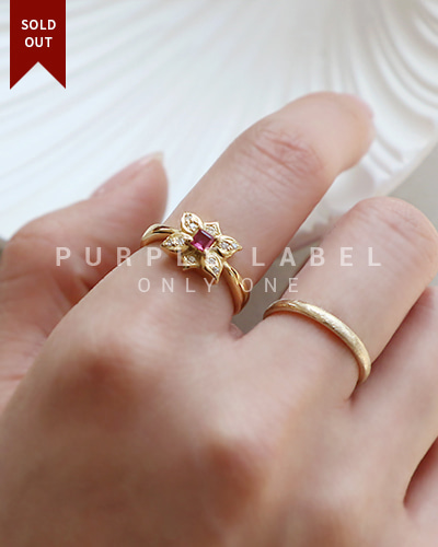 [Purple LABEL #20] 18K Antique Ruby Ring